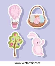 set happy easter cute rabbit egg basket tree flowers and air balloon