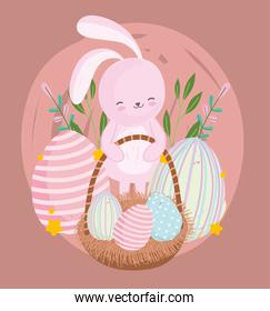 happy easter cute cartoon rabbit with egg in basket