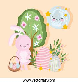 happy easter cartoon bunny decorative eggs tree cute
