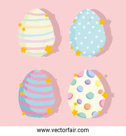 cute easter cartoon decorative eggs celebration, set