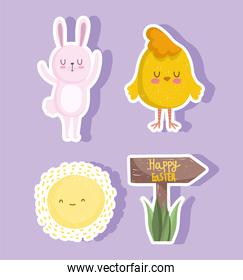 cute easter, rabbit chicken and sun, icons set