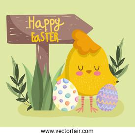 cute easter cartoon chicken with eggs and arrow sign