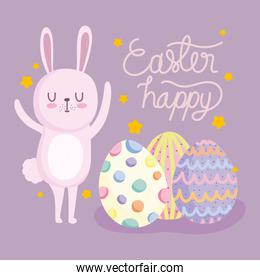 cute easter catoon bunny with decorative eggs