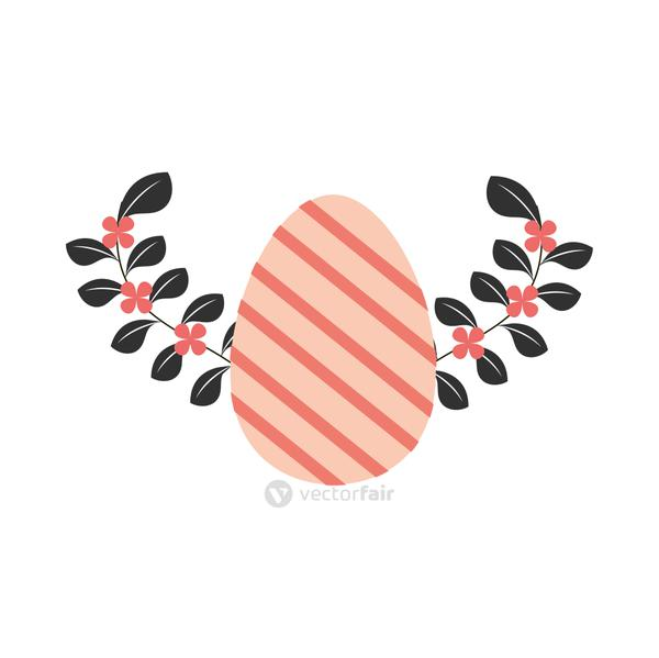 happy easter striped egg and leaves decoration