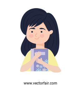 happy girl with floral book, colorful design