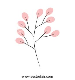 stem with pink leaves, colorful design
