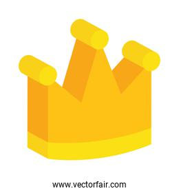 isometric queen crown icon, colorful design