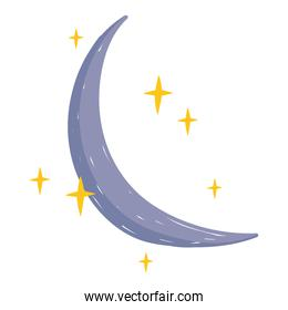 half moon and star sky white background