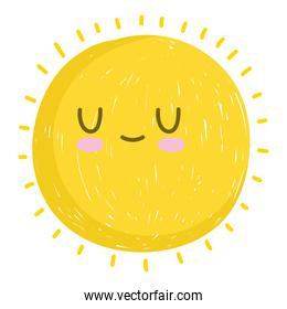 cute sun summer weather white background