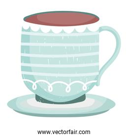 porcelain coffee cup cartoon white background