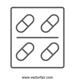medical packaging capsules treatment line icon white background