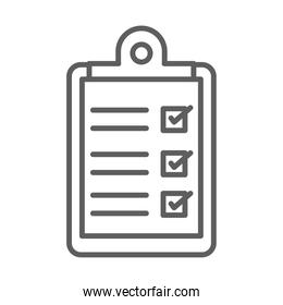 medical report clipboard line icon white background
