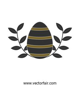happy easter dark striped egg decoration leaf white background