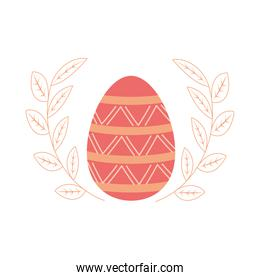 happy easter delicate egg and leaves decoration white background