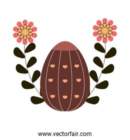 happy easter cute egg with hearts and flowers white background