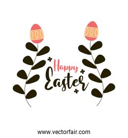 happy easter flower eggs leaves decoration white background