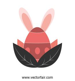happy easter egg with ears and leafves decoration white background
