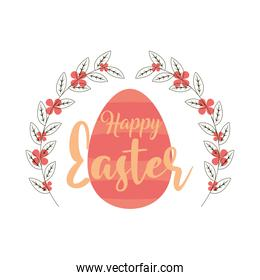 happy easter hand drawn lettering egg and flowers white background