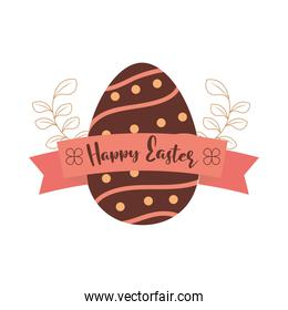 happy easter brown egg floral and ribbon white background