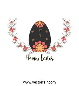 happy easter egg with printed flowers decoration