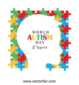 autism awareness day silhouette head child puzzles background