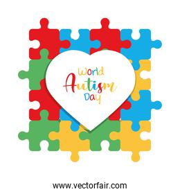 world autism awareness day in heart over puzzles