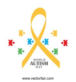 autism awareness day ribbon and puzzles campaign