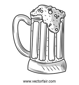 mug with cold beer icon sketch isolated