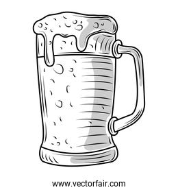 beer mug with foam drink icon sketch isolated