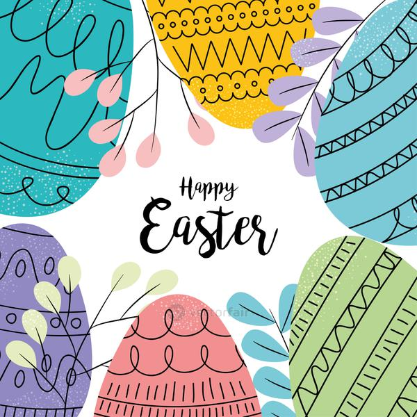 happy easter design with colorful eggs and leaves around
