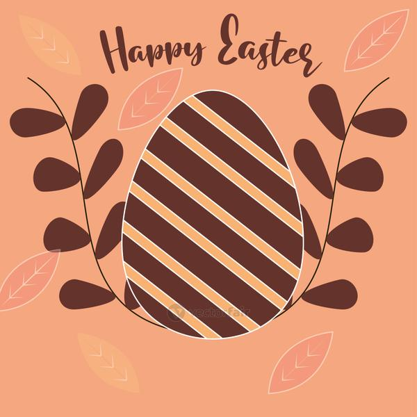 happy easter handwritten text and egg with stripes