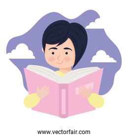 woman reading a book, colorful design