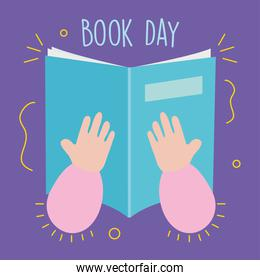 book day design with hands holding a book, colorful design