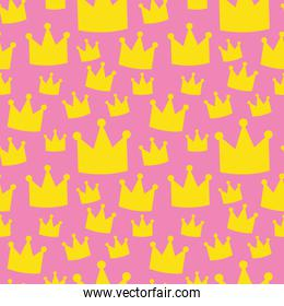pink seamless pattern of crowns, colorful design