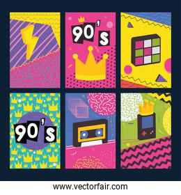 90s forever designs with retro related icons, colorful design