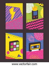 90s and 80s posters icon set, colorful design