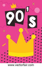 90s forever poster with crown and abstract shapes, colorful design