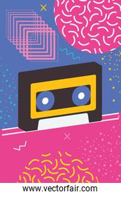 retro casette over memphis style background with abstract shapes