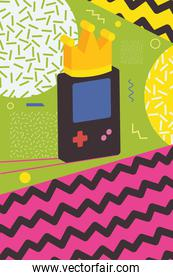 retro videogame portable over colorful background with abstract shapes