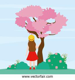 woman of back and pink tree, colorful design