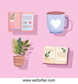 set book, icon coffee cup textbooks plant