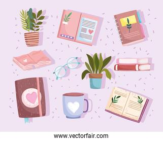 set book, botanical textbooks read coffee cup and plants icon