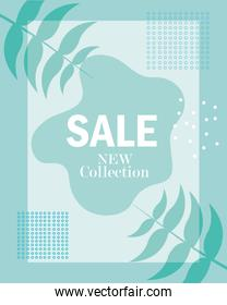 sale new collection textures and floral botanical element banner