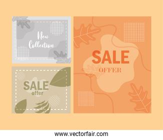 sale new collection promotional backgrounds with floral texture