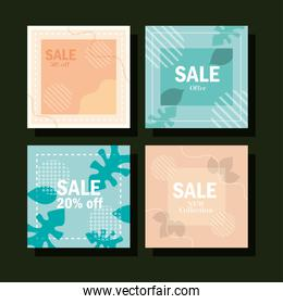 set sale new collection for season advertising jungle leaves layout banners