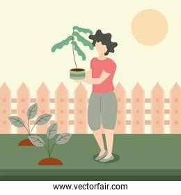 woman holding potted plant in the backyard, gardening