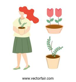 woman with potted plant, flowers and foliage in pots gardening
