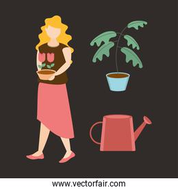 woman holding potted flowers potted plant and watering can gardening icons