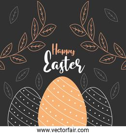 happy easter dotted eggs foliage black background