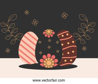 happy easter decorative egg with flowers stripes and dots decoration
